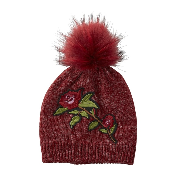 Accessories - Red rose patch beanie